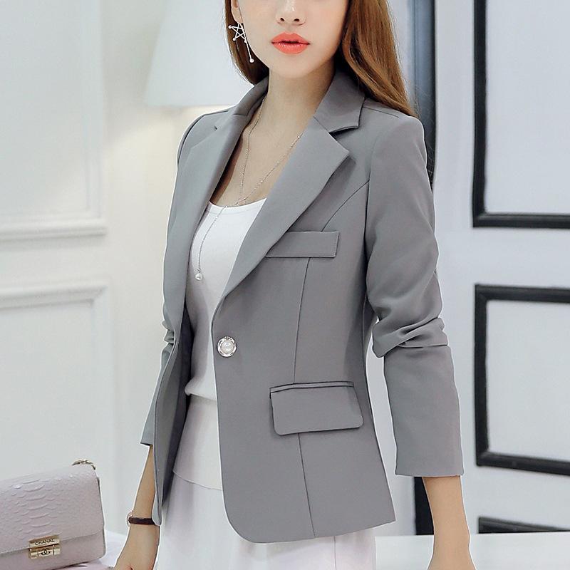 彩黛妃2020秋冬新款小西装女装韩版西服修身纯色长袖显瘦女外套