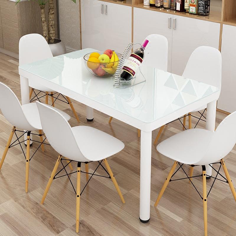 新款家用小户型钢化玻璃餐桌椅组合现代简约4人6人长方形吃饭桌