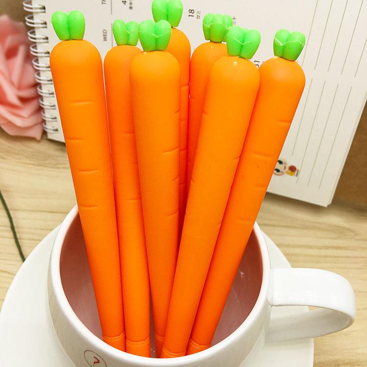 T可爱逼真胡萝卜蔬菜造型笔中性笔批发 0.5mm黑色水笔签字笔