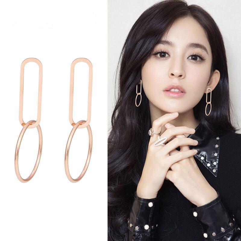 folk-custom metal plating Titanium steel earrings (Rose gold pair)NHIM0952-Rose gold pair