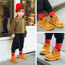火拼欧美风女童靴子真皮马丁靴男童短靴爆款儿童小黄靴一件代发