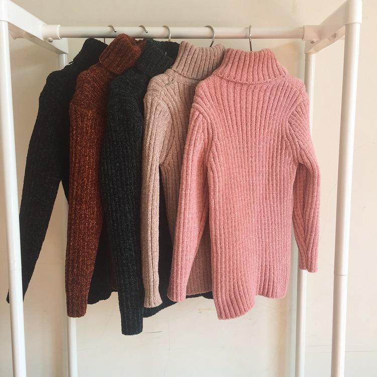 冬款韩版儿童高领毛衣中大童雪尼丝绒纯色打底衫男女孩保暖羊毛衫