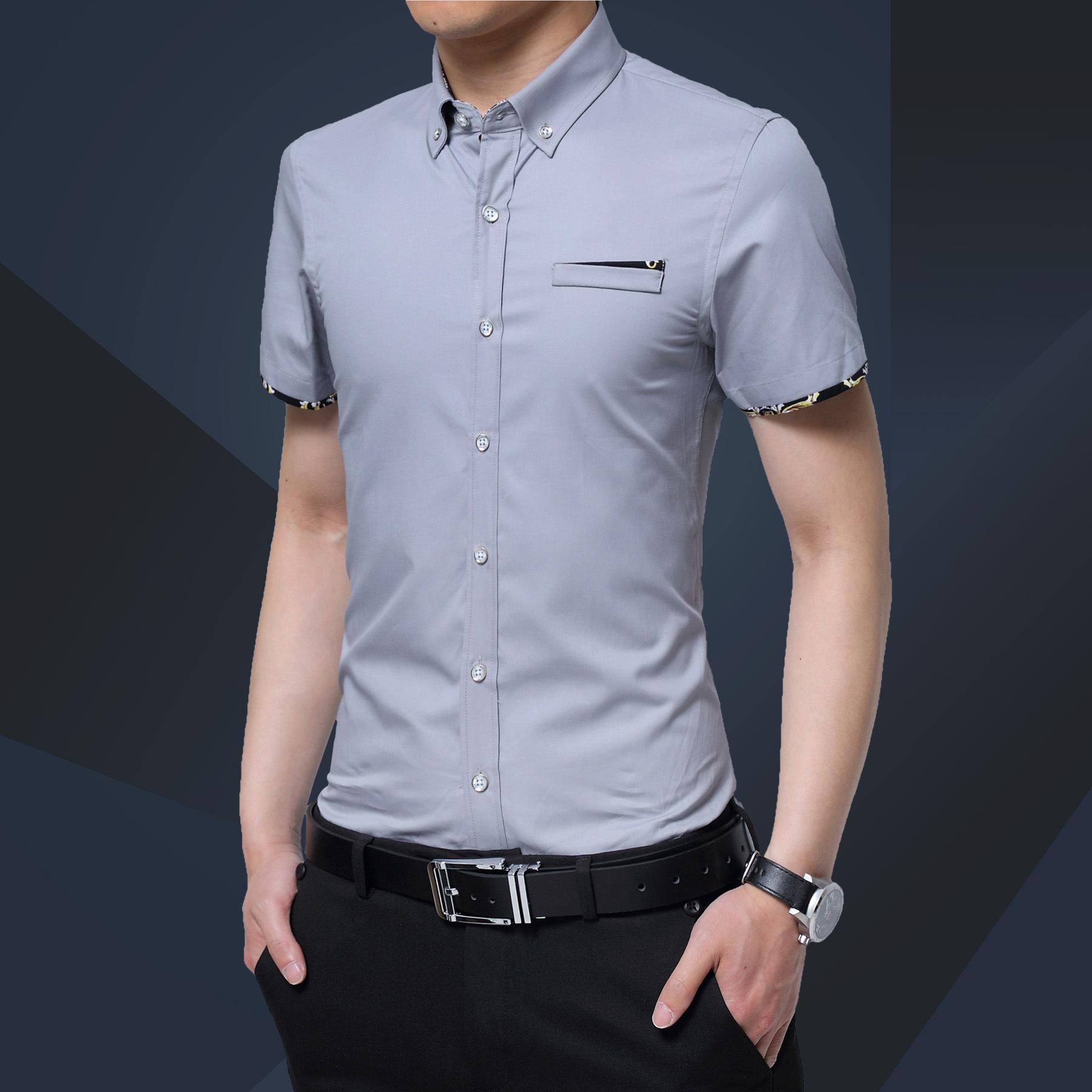 潮款外贸男式格子纯棉衬衣翻领商务男短袖薄大码衬衫跨境男装批发