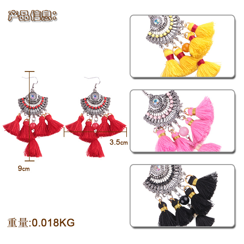 folk-custom alloy hand made earring (Pink)NHJQ9247-Pink