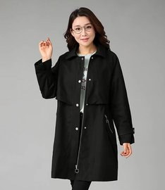 K73 large size women's clothing autumn and winter new fat mm medium and long style waist show thin windbreaker coat 028