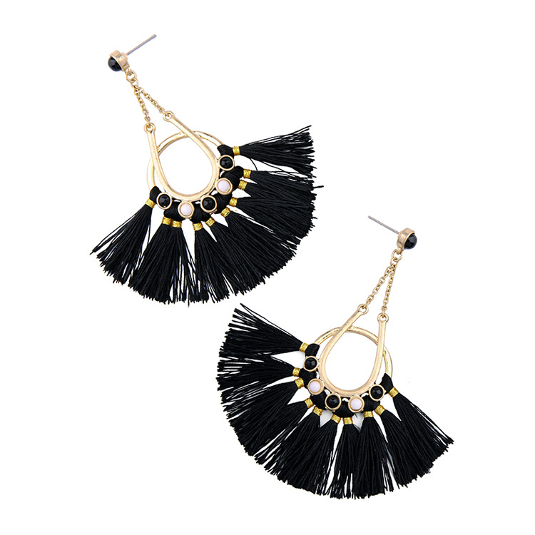 Occident and the United States alloy tassel earring (black)NHQD3978-black