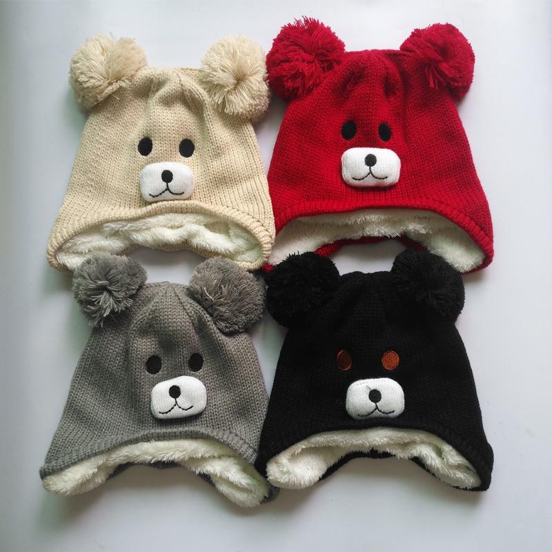 帽子新年儿童小熊双球护耳毛线帽  婴儿保暖加绒御寒针织潮套头帽