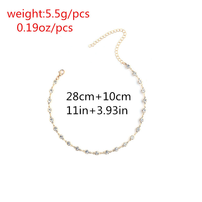 Fashion diamond element with diamonds and short clavicle necklace NHXR171355