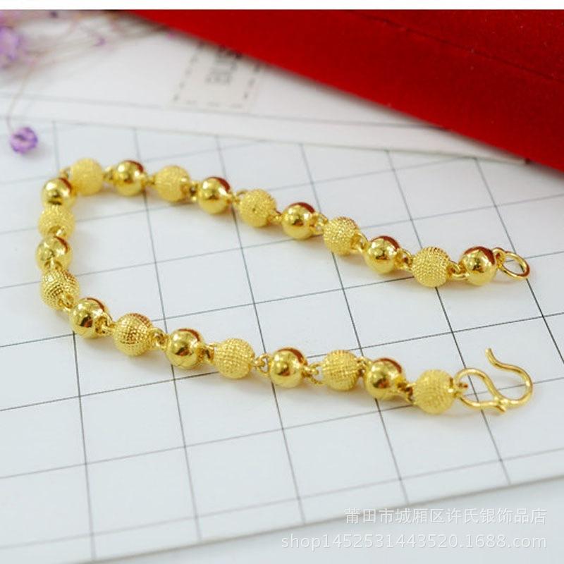欧币沙金手链女 男士圆珠手链镀24k黄金仿真金佛珠转运珠厚金手链