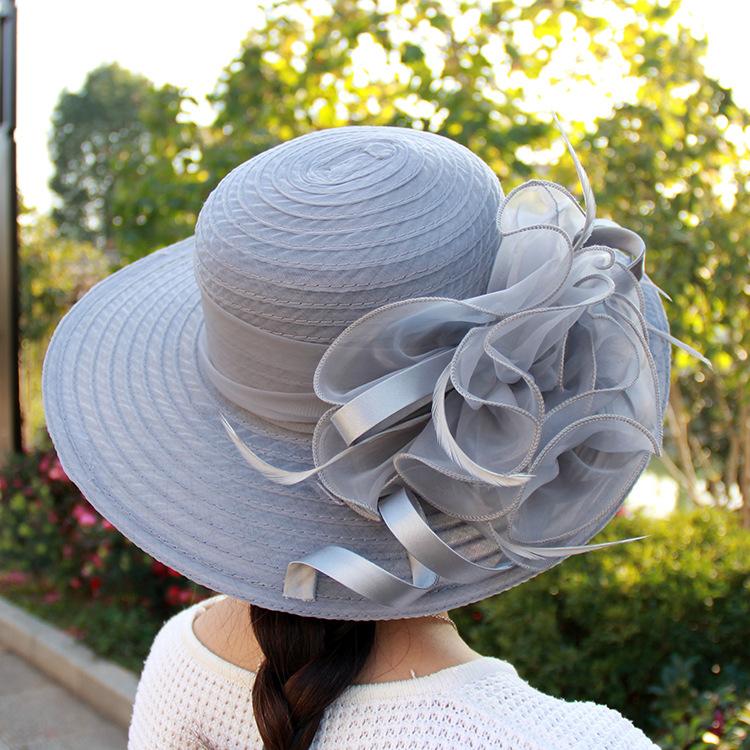 春夏季网纱遮阳帽欧根纱花朵气质婚纱帽防晒圆顶大檐帽子时装帽女