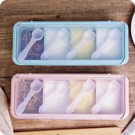 Gấp bốn lần màu gia vị jar hộp gia vị gói nhựa bể muối ăn nước sốt gà mực bể nêm thanh lịch Gia vị