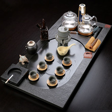 乌金石火烧大号茶具套装四合一电磁炉定制石雕茶盘海功夫茶盘