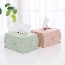 欧式花边塑料纸巾盒家用茶几抽纸盒创意客厅餐巾纸收纳盒纸抽盒