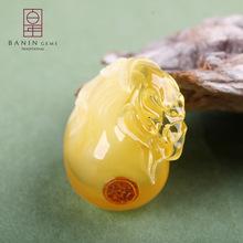 黃蜜立體錢袋知足常樂雕件廠家批發 海珀純天然琥珀掛件蜜蠟吊墜