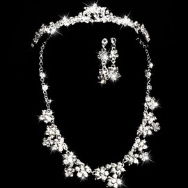 Bridal Set Necklace Alloy Glass Rhinestone Set Chain Bridal Crown Bridal Headwear Set