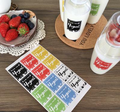 一张12枚价DIY手工酸奶 装饰贴纸 发酵奶封口贴yogurt帖