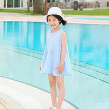 夏季新款女童连衣裙条纹纯棉中大童A字裙宽松儿童背心裙一件代发