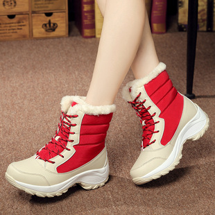 2020 autumn and winter snow boots women's inner heightening short boots outdoor non-slip high-top large size 42 shoes plus velvet warm cotton shoes