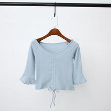 2019春夏新款女装复古气质修身针织上衣抽绳两穿中袖喇叭袖T恤