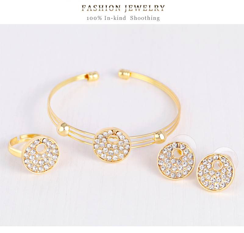 fashion style jewelry set round alloy diamond-plated kc necklace earrings bracelet ring four-piece set wholesale nihaojewelry NHDR225317