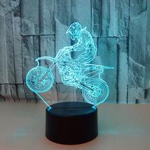新款骑摩托车3D灯 七彩视觉立体灯 LED渐变触摸遥控视觉灯 3D台灯