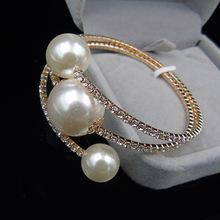 韩式时尚百搭水钻珍珠多层手链手镯缠绕手环手饰夸张高档珍珠手镯