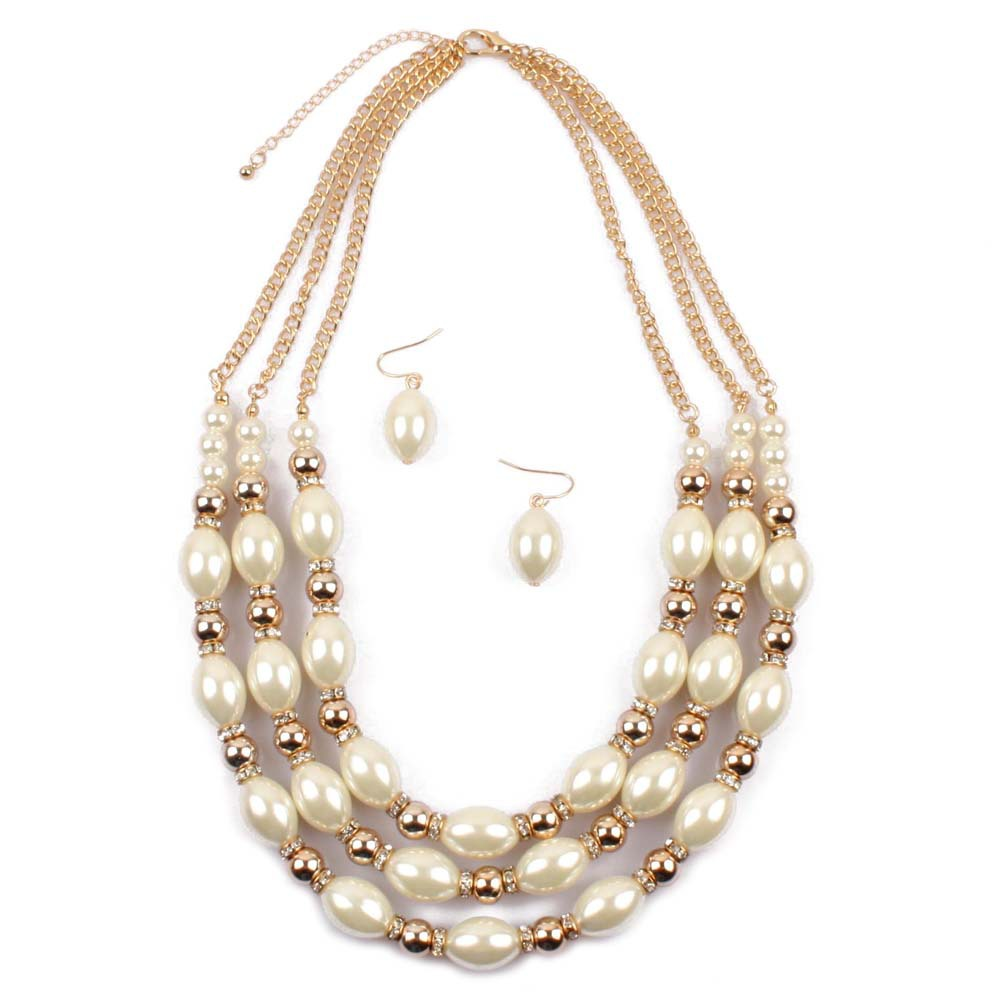 Occident and the United States pearlnecklace (creamy-white)NHCT0097-creamy-white