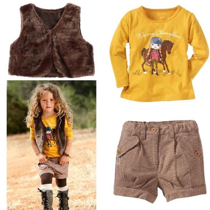 女童套裝2021春裝新款歐美風時尚黃色T恤馬甲褲子三件套批發代理