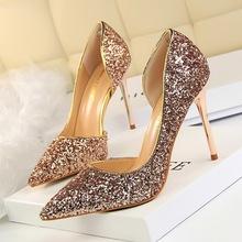 868-8欧美风性感夜店显瘦女鞋细跟高跟浅口尖头侧镂空亮片单鞋