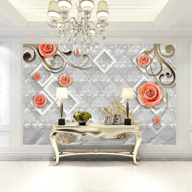 米诺 欧式3D浮雕玫瑰花天鹅立体无纺布卧室壁画 5d客厅电视背景墙