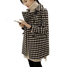 秋冬装新款韩版双排扣中长款千鸟格呢大衣韩版茧型毛呢外套女装潮