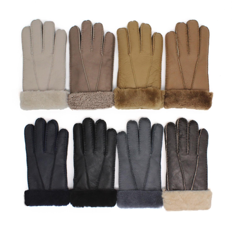 跨境冬季新款男士手套羊皮皮毛一体手套保暖手套真皮手套厂家直销