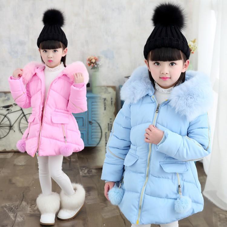 童装女童加厚棉衣2017冬装新款中大童中长款棉袄儿童棉服一件代发
