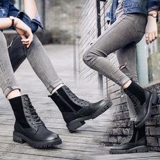 冬季新款真皮女靴休闲中筒靴子系带短靴机车女靴子加绒靴一件代发