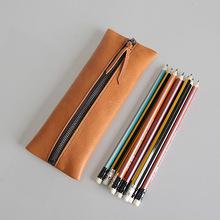 手工頭層植鞣皮復古拉鏈真皮筆袋 大容量簡約創意文具袋學生青年