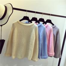 2018秋冬新款女装加厚宽松显瘦糖果色圆领长袖套头针织衫毛衣