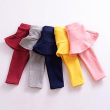 Quần legging nhung trẻ em 2017 thu đông 2017 phiên bản mới của Hàn Quốc cho bé gái quần lửng hai dây giả màu đơn giản, đa năng Culottes