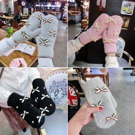 Princess's fairy tale pearl water drill girl bow rabbit hair blended knitted full finger thickened gloves