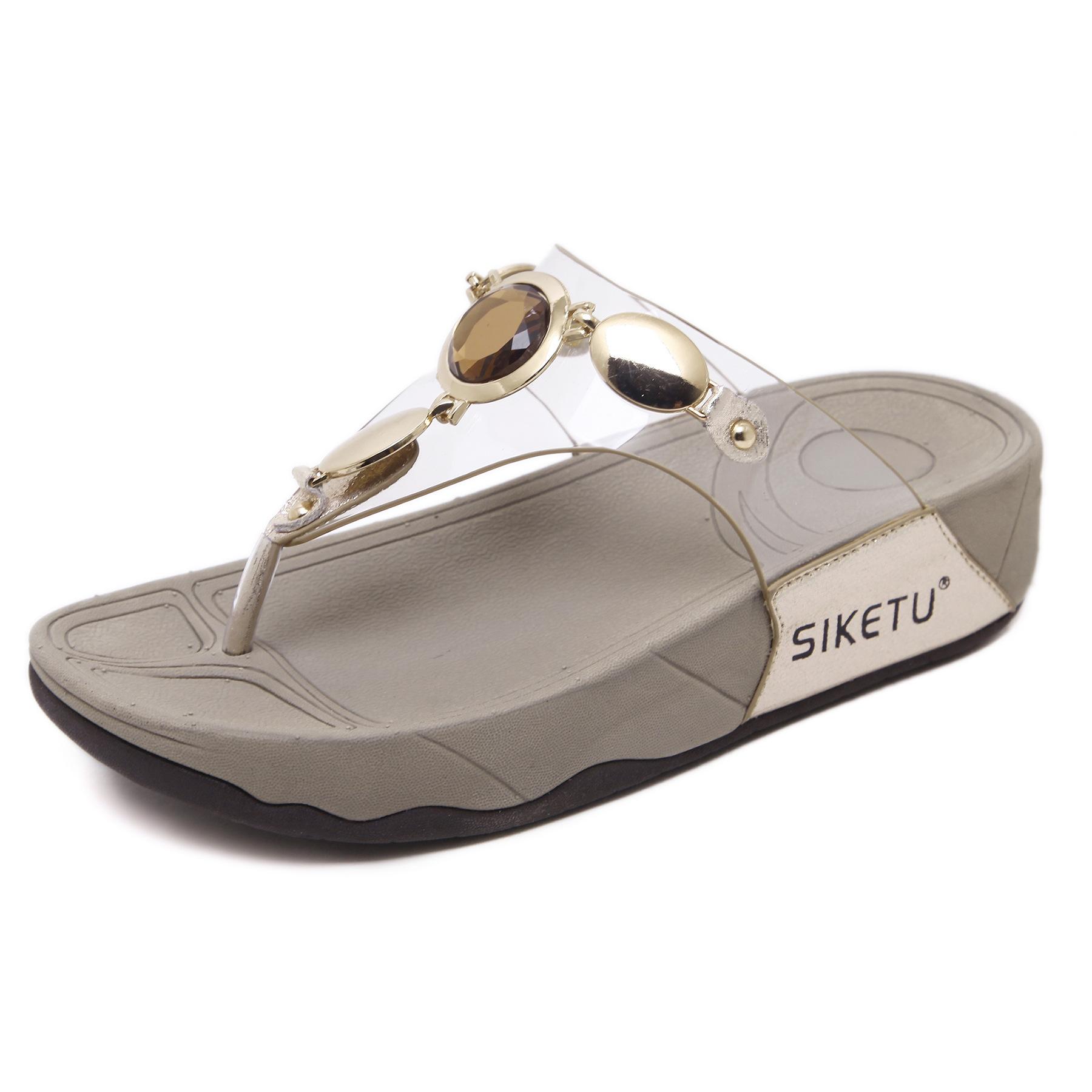 夏季2021欧美拖鞋女跨境外贸玻璃水钻金属扣凉拖透明胶人字拖批发