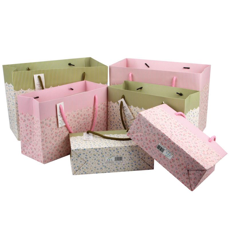 小清新碎花纸袋礼品袋韩版手提袋可混批零厂家供应12一包 促销款