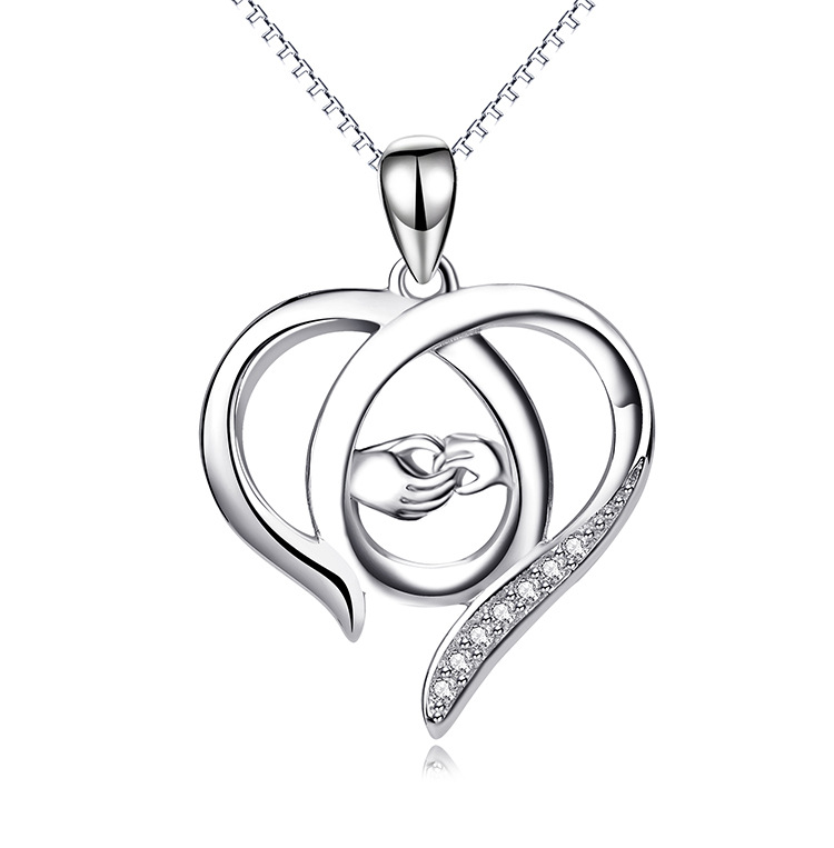 Fashion Silver Diamond necklace Sweetheart (Photo Color)NHAT0118-Photo Color