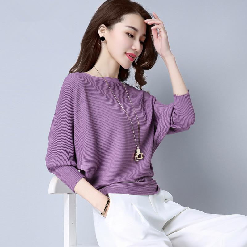 一字领针织衫女春装新款韩版宽松蝙蝠袖薄毛衣春秋女士打底衫