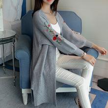 Áo khoác len nữ thời trang, thiết kế dáng dài, thêu hoa xinh xắn