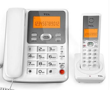 TCL电话机D61 无绳电话子母机 家用办公固定无线电话座机 一拖二