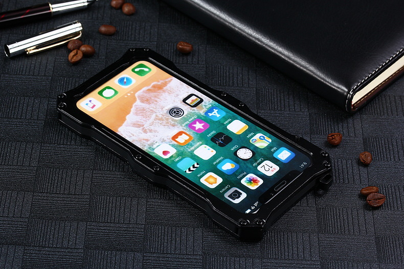 S.CENG Gundam Water Resistant Dustproof Shockproof Silicone Gorilla Glass Aluminum Alloy Metal Case Cover for Apple iPhone X