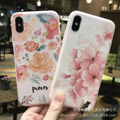 Apple x vỏ điện thoại sơn nổi vỏ mềm iphone7 cộng với hồng tpu silicone sáng tạo bán buôn tươi