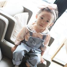 2017春夏韩国童装纯棉梭织海军风T恤女童宝宝时尚上衣卫衣