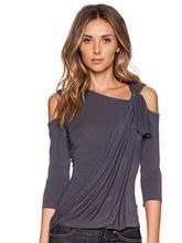 速卖通新品  秋季爆款  束折中袖 女装  7分袖上衣 现货