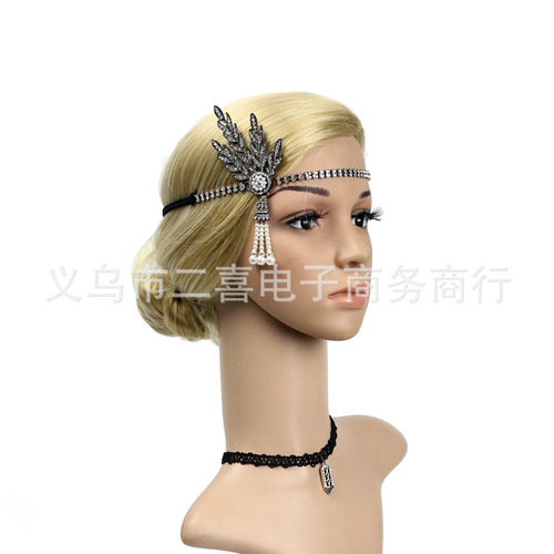 Party hats Fedoras hats for women Alloy tassel water drill with Mother Pearl Hair Band party ball elastic band hair ornament