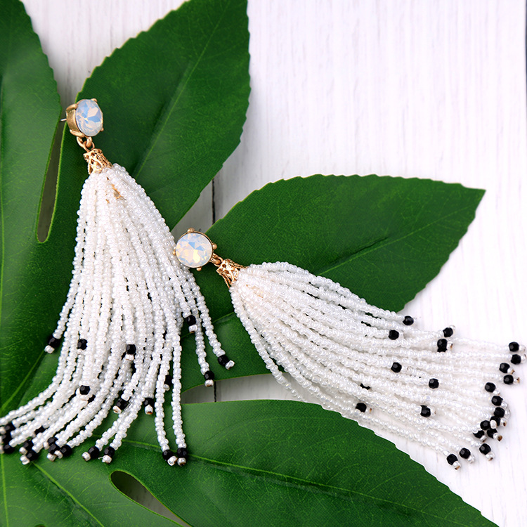 Fashion Alloy Rhinestone Earrings Tassel (white)  NHQD4282-white